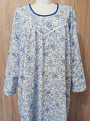 Теплая длинная ночная сорочка женская (ночнушка) большого размера хлопковая с начесом длинный рукав