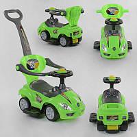 Машина-толокар JOY 2027 - G (1) цвет ЗЕЛЁНЫЙ , родительская ручка, 5 мелодий, съемный защитный бампер,