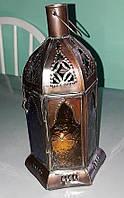 Старинный медный подсвечник-фонарь ручной работы, Европа, цветное стекло