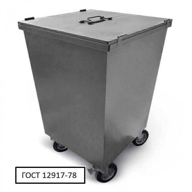 Бак металевий з кришкою та колесами V-750 л, сірий