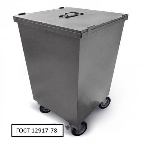 Бак металевий з кришкою та колесами V-750 л, сірий, фото 2