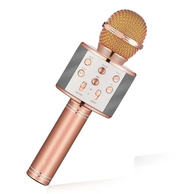 Безпровідний мікрофон караоке з вбудованою колонкою Karaoke DM WS858 ЗОЛОТО GOLD (USB/Bluetooth)