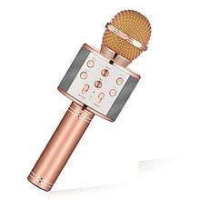 Беспроводной караоке микрофон со встроенной колонкой DM Karaoke WS858 Original Розовое золото USB/Bluetooth)