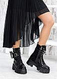 Берци жіночі демісезонні чорні лак-шкіра з гаманцем 7561-28, фото 5