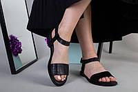 Женские босоножки на низком ходу, черная кожа питон 40