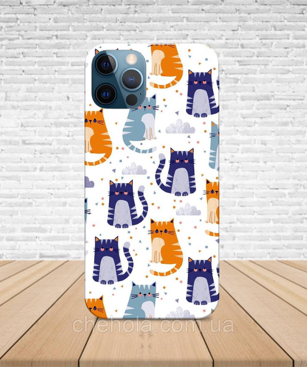 Матовый Чехол iPhone 12 Pro Max Mini Коты узор с принтом