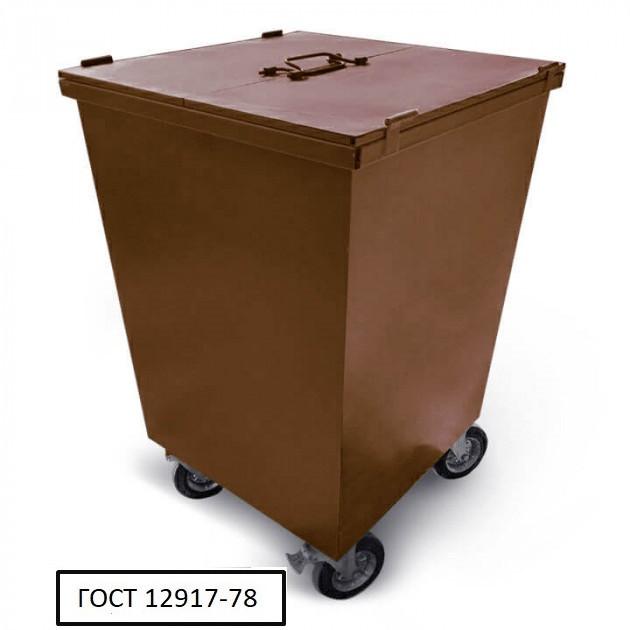 Бак металевий з кришкою та колесами V-750 л, коричневий