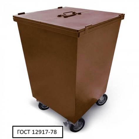 Бак металевий з кришкою та колесами V-750 л, коричневий, фото 2