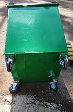 Бак металевий з кришкою та колесами V-750 л, коричневий, фото 3