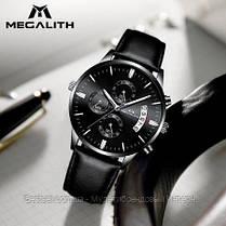Часы оригинальные мужские наручные кварцевые Megalith 8008M All Black / часы оригиналые черные, фото 3