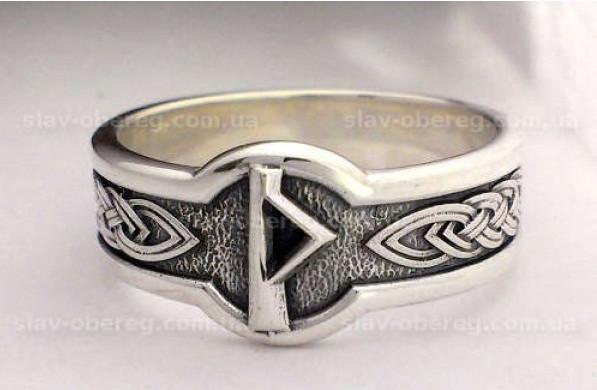 Кольцо Руна Турисаз из серебра 925 пробы, 19 размер