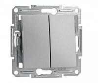Выключатель двухклавишный самозажимной алюминий Asfora Schneider Electric, фото 1
