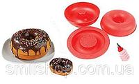 Форма для выпечки гигантских пончиков Giant doughnut make силиконовая круглая, красного цвета, в ассортименте.