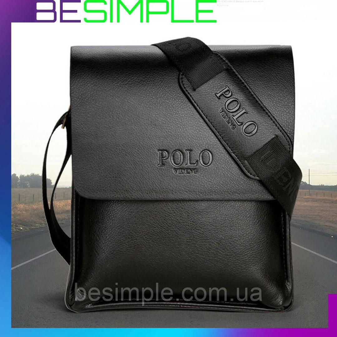 Стильна чоловіча шкіряна сумка Polo Videng / Сумка через плече + Ніж-візитка в Подарунок