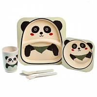 Набор детской посуды из бамбука Панда на 5 предметов