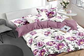 """Семейный комплект постельного белья 150*220 (2шт) из сатина """"Фиолетовый букет"""""""