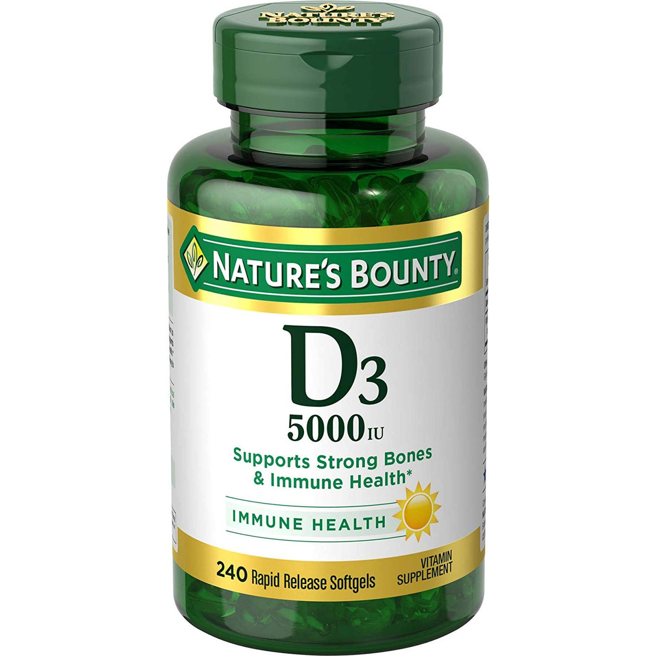 Витамин D3 5000IU (125 mcg) Nature's Bounty 240 мягких таблеток ускоренного высвобождения