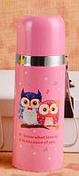 Термос Happy Animals розового цвета, нержавеющая сталь, емкость для жидкости с функцией сохранения тепла.