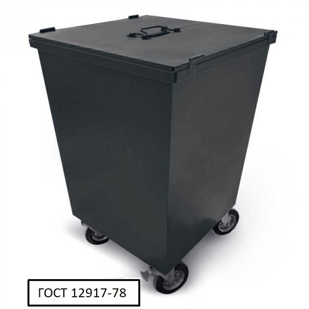Бак металевий, з кришкой та колесами,750 л чорний