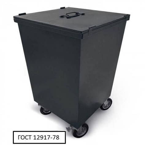 Бак металевий, з кришкой та колесами,750 л чорний, фото 2