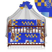 Постельный комплект Малютка 6 предметов - ткань полликотон - Тачки - цвет синий ТМ Алекс