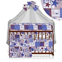 Постельный комплект Малютка 6 предметов - ткань поликоттон - Звезды - цвет коричневый ТМ Алекс