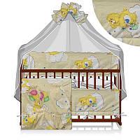 Постельный комплект Малютка 6 предметов - ткань поликоттон - Мишка с шариком - цвет бежевый ТМ Алекс