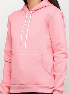 Худи женское, с капюшоном цвет розовый персик на флисе