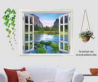 Інтер'єрна наклейка на стіну Вікно на гірську річку
