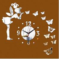 Настінний 3д годинник феєю і метеликами сріблясті