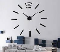 Об'ємні 3д настінні годинники великі чорні