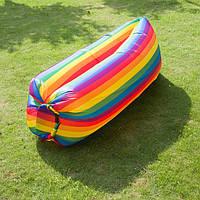 Надувной матрас Ламзак AIR sofa Rainbow Радуга, надувной диван-шезлонг, ламзак-лежак