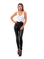 Женские черные кожаные леггнисы с высокой посадкой и поясом., фото 1