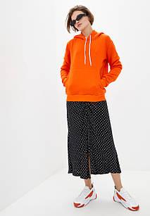 Худи женский с капюшоном оранжевый на флисе
