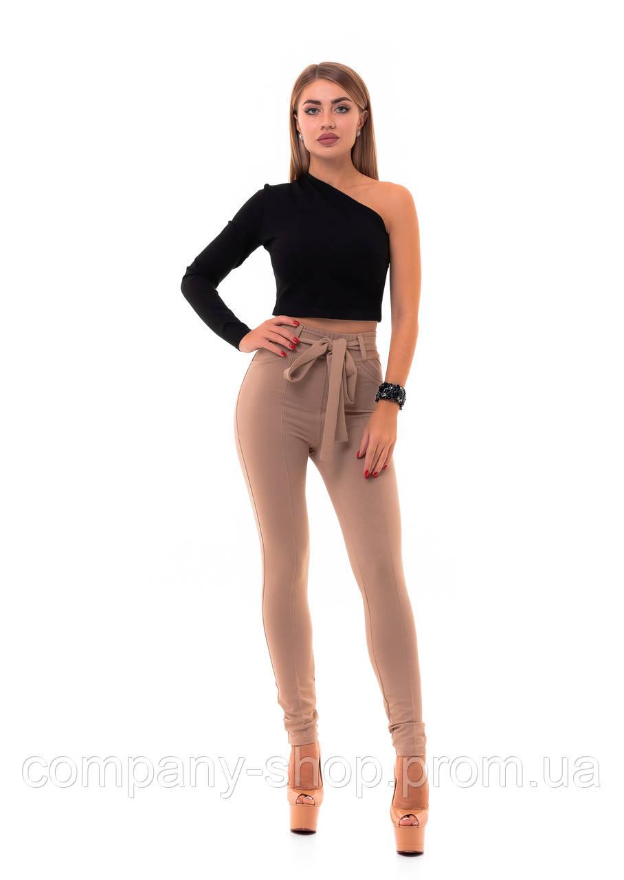 Женские модные леггинсы с завышенной талией и поясом.
