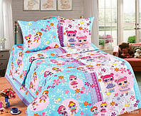Комплект красивого детского постельного белья, двухспалка, лол голубое | Бесплатная доставка!
