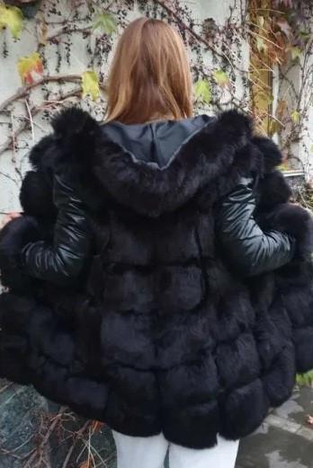 Меховая жилетка женская со съёмными рукавами и капюшоном из искусственного меха Длина изделия 70см Купить!