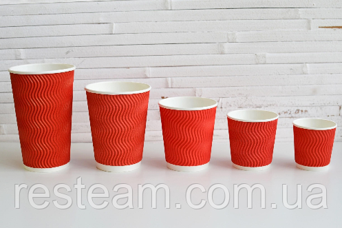 Стакан гофра 250 мл червоний PAPER CUPS 30шт/уп