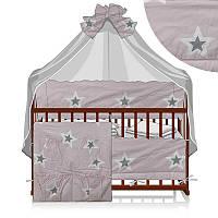 Постельный комплект Сказочная колыбелька 6 предметов - ткань бязь - Звезды большие - цвет сиреневый ТМ