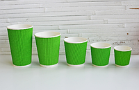 Стакан гофра 250 мл зелений PAPER CUPS 30шт/уп