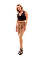 Женские кожаные трендовые леггинсы с высокой посадкой., фото 1