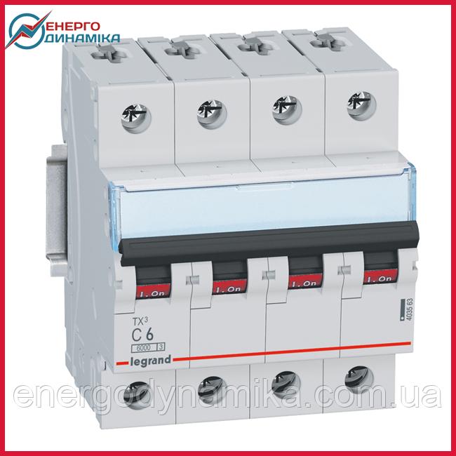 Автоматический выключатель Legrand TX3 6А 4п С 6кА