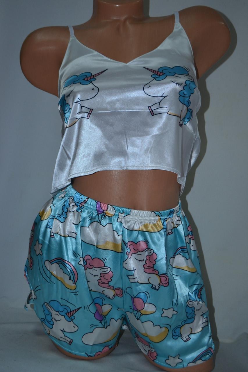 Комплектик топ + шорты Unicorn голубой