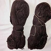 Пряжа темно-коричневая шерстяная, нитки для вязания 100 гр, 300м в мотке
