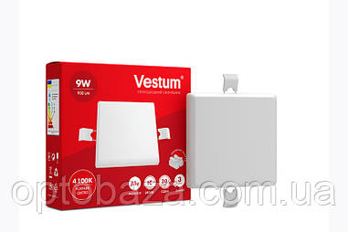 LED светильник (без рамки) врезной квадратный Vestum 9W 4100K 220V