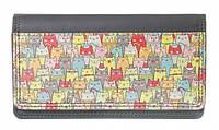 Стильный вместительный кошелек-портмоне Зимние коты