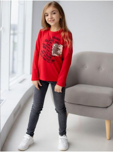 Детский свитшот с принтом и карманом из пайеток