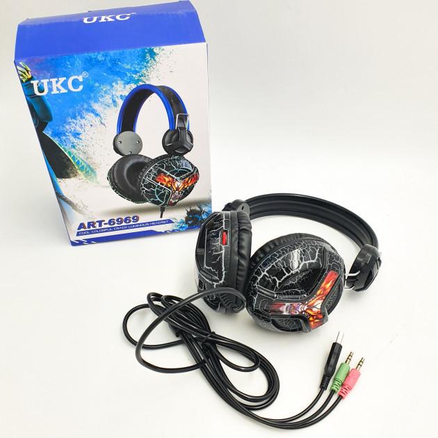 Игровые наушники с микрофоном UKC E001 LED игровая гарнитура