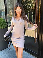 Короткое платье мини с с декольте и рукавами, фото 1