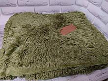 Плед покрывало меховое  Травка Мишка Страус Пушистик  Зеленый